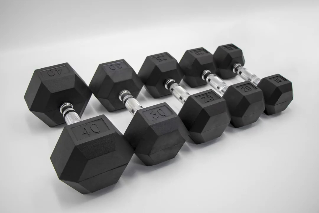 In Stock 1kg to 50kg Black Rubber Coated Hex Dumbbell Adjustable