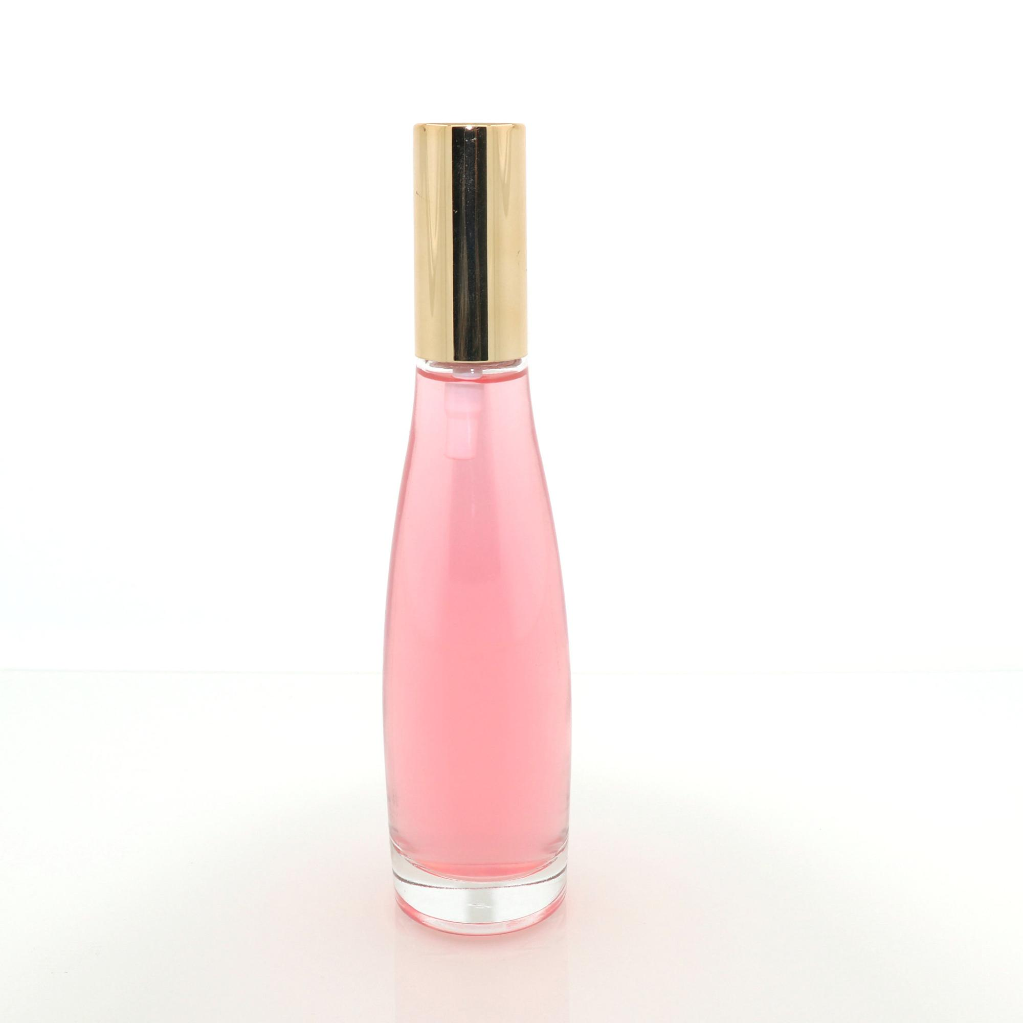 luxury empty perfume glass refill bottle 100ml with gold spray for cosmetic packaging