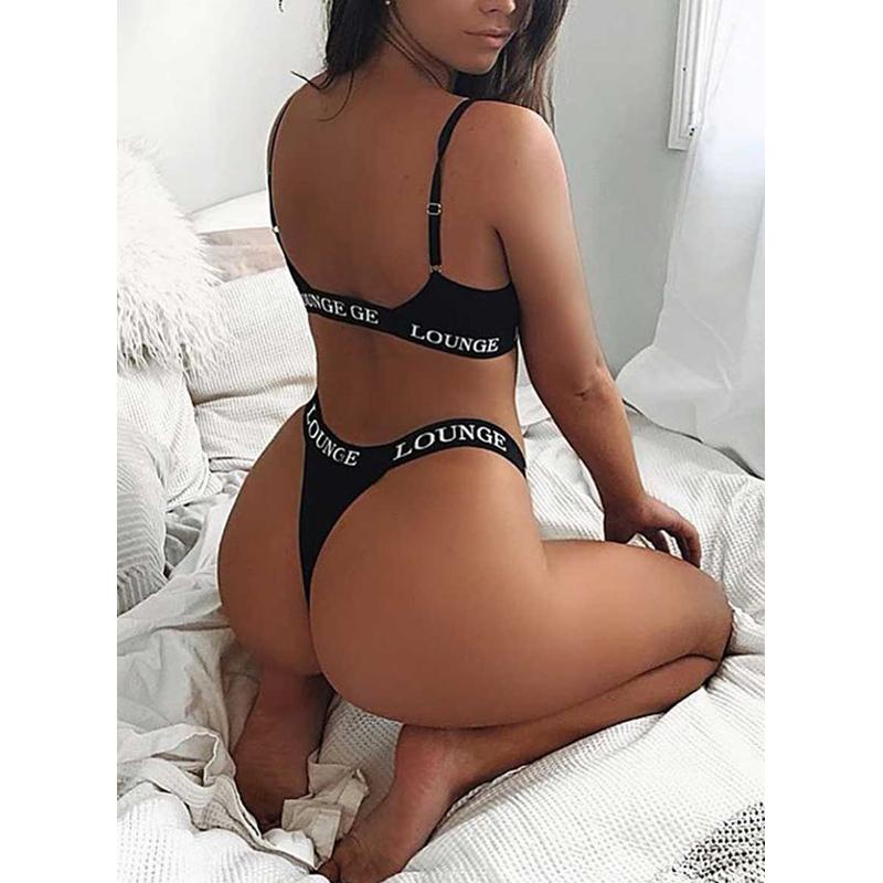 2020 Custom Logo White Black Femme Babydoll Sexy Bra And Panty Set Corset Bralette Women Lingerie Set