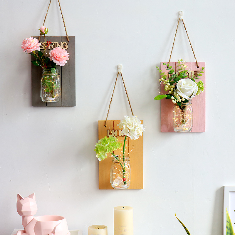 Creative Wooden Board Wall Flower Glass Vase Decoration Flower Wall Decor With LED Strip Lights