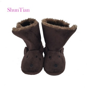 wholesale cute warm winter plush animal indoor baby boots