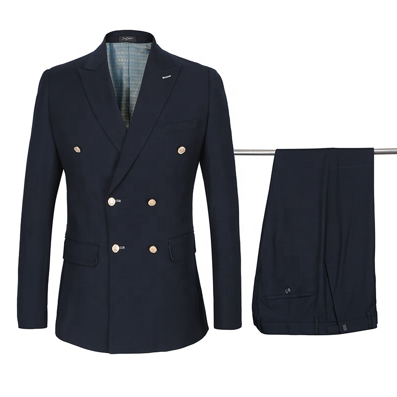2020 European Style Wool Custom <strong>Suit</strong> Gold Buttons Double-breasted <strong>Formal</strong> Navy Blue Blazers Slim Fit Wedding Men <strong>Suit</strong>