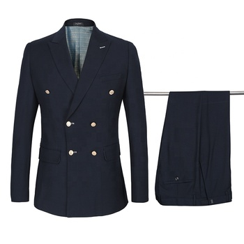 2020 European Style Wool Custom Suit Gold Buttons Double-breasted Formal Navy Blue Blazers Slim Fit Wedding Men Suit