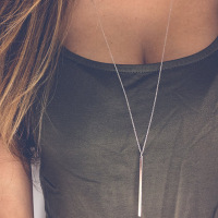 Minimalist Fine Bar Pendant Necklace Silver Long Chain Necklace Simple Long Rod Necklace for Women Fashion Jewelry Accessories