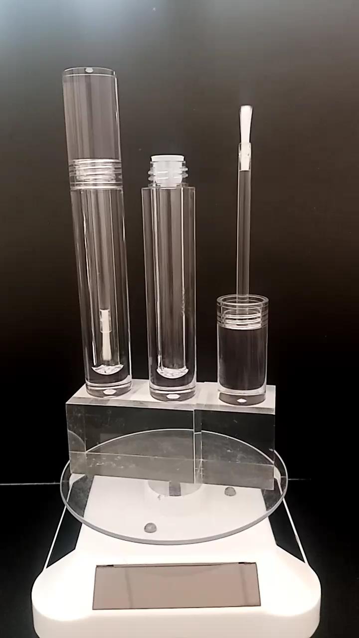 2020 new low moq contenitori trasparenti di spessore della parete di vendita calda di lusso rotondo lipgloss lip gloss bacchetta tubo con punta di pennello E bacchette