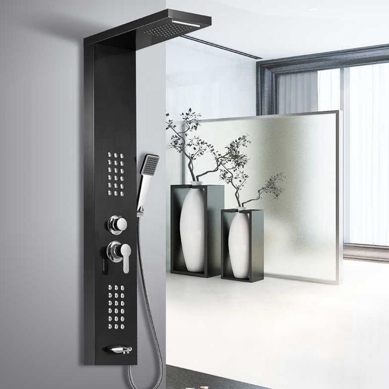 Panel de ducha de acero inoxidable, grifo de ducha de cascada de lluvia, Panel de ducha negro