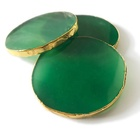 Green agate coaster gold rim table decoration/home decor/wedding decoration