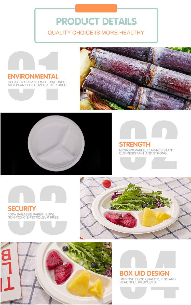 Wholesale disposable 3 compartment sugarcane Bagasse fast food plate
