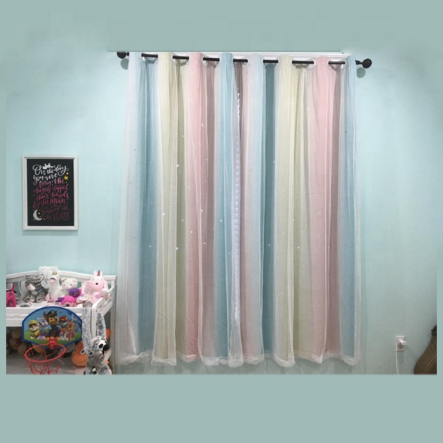 Factory sales New Stars Blackout Curtains  for Kids Girls Bedroom  Colorful Double Layer Star Cut Out Stripe children curtain
