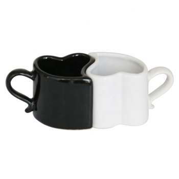 Custom couple ceramic coffee mug logo black and white mug