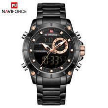 Часы NAVIFORCE мужские, спортивные, черные, полностью стальные, кварцевые, водонепроницаемые(Китай)