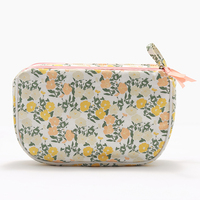 Own brand cosmetic bag printing double zipper canvas cosmetic bag