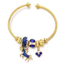 Женский браслет из нержавеющей стали с кристаллами пчелы, браслеты с проволочным кабелем, стразы, диско-шар, открытый Регулируемый Браслет-...(Китай)