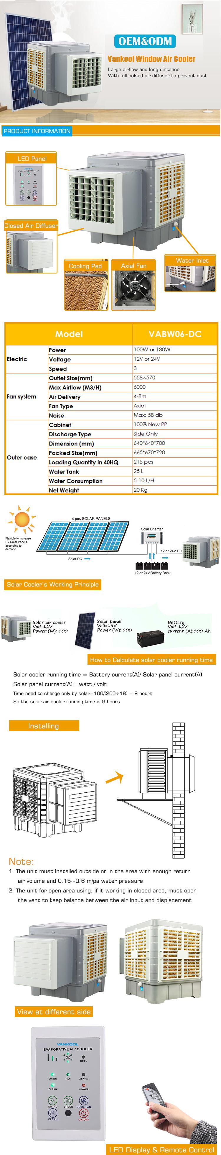 6000m3/H DC Tenaga Surya 12V Jendela AC Evaporative Air Cooler dengan Panel Tenaga Surya/Solar Panel