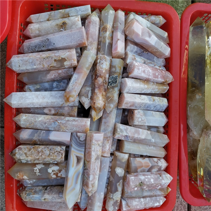 Wholesale High Quality Natural Flower Agate Point Cherry Agate Point Tower Sakura Quartz Crystal Wand For Gifts or Decoration
