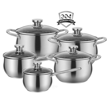 10 pcs 18/10 stainless steel cooks cookware cooking stock soup pot saucepan casserole cookware set