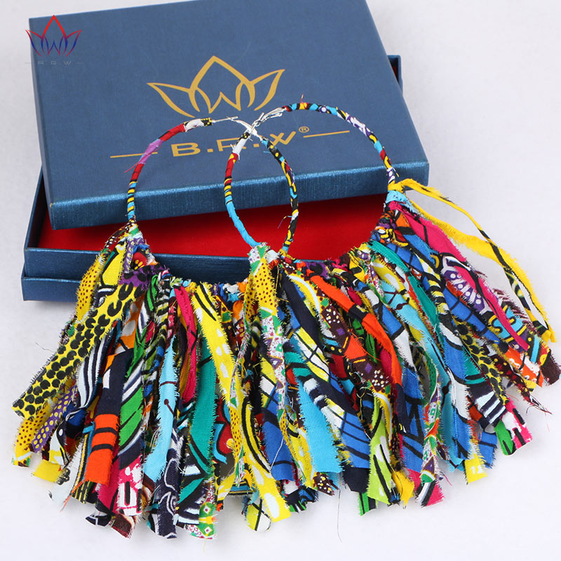 WYB1198 African Style Cotton Fabrics Earrings Wholesale Fashion Beautiful Big Ring with Cotton Tassel