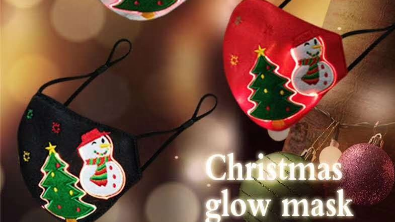 2020 New 7 Color Optical Fiber Luminous Bling Facemasks Light Up Led Rave Maskes for Halloweens Masquerade Party Christmas Gifts
