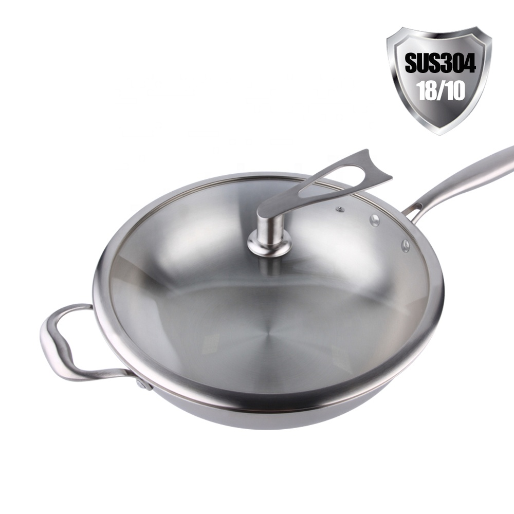Stainless Steel Wok 13 inch Stir Frying Japanese Big Wok With Long Handle Dome Lid
