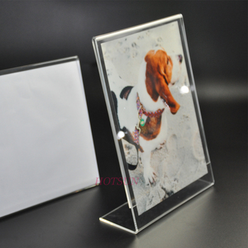 6 PACK Wholesale Slant Back Vertical Clear Plastic Paper Card Display Stand L Shape Acrylic Sign Holders 85 x 11