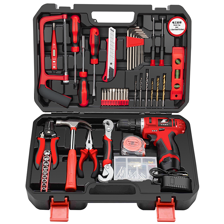 Kafuwell Hot selling Multi Function 109pcs Household Cordless Electric Drill Tools Set