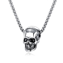 Classic Vintage Men Jewelry Stainless Steel Necklace Silver Skull Pendant
