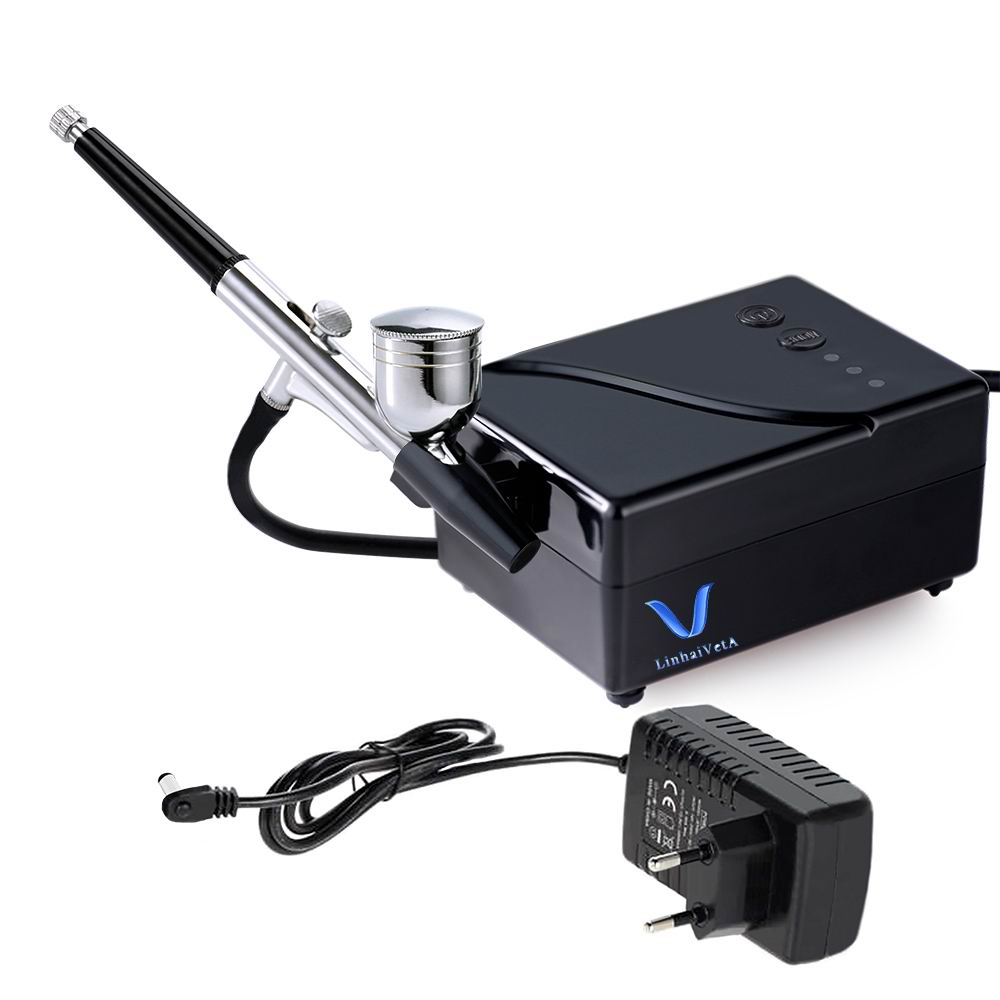 LinhaivetA air brush gun set airbrush nail compressor makeup machine cake kit