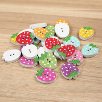 small two hole colorful strawberry shape wooden button for baby clothes