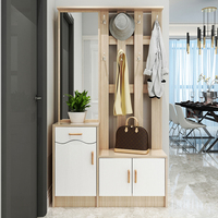 MDF shoe cabinet with full length mirror multi-functional with clothes hanging coat hook