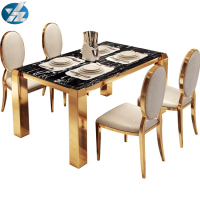 High End Luxury Banquet Metal Marble Table Top Table And Chair Dining Set