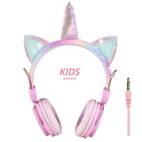 Wired headphone factory cute over ear silent disco 85dB unicorn kids headphone for girls with mic