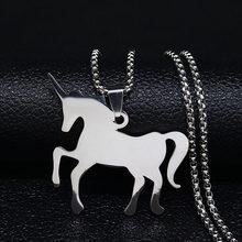 Ожерелье из нержавеющей стали с единорогом, ювелирные изделия серебристого цвета, Длинные ожерелья и подвески, ювелирные изделия, joyas acero ...(Китай)