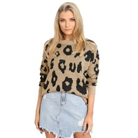 Round Neck Casual Leopard Print Knit Long Sleeve Jumpers Women Sweater