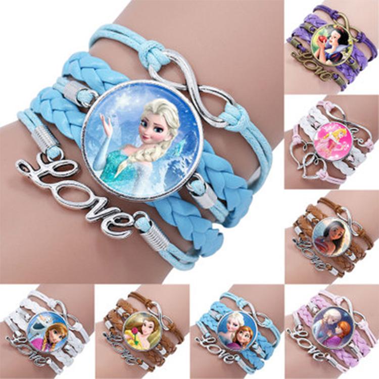 SAF Jewelry Wholesale Cute Princess Glass Charm Kids Leather Bracelet Frozen Bracelet