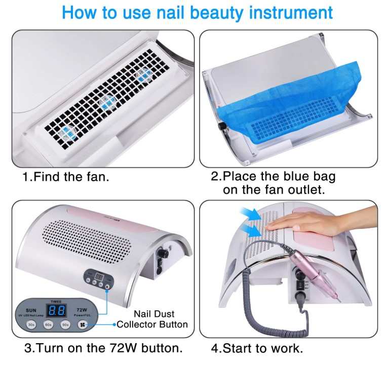Multi-functional Electric 5 in 1 nail bit Beginner Set uv led lamp dust collector nail art manufacturers Nail drill machine