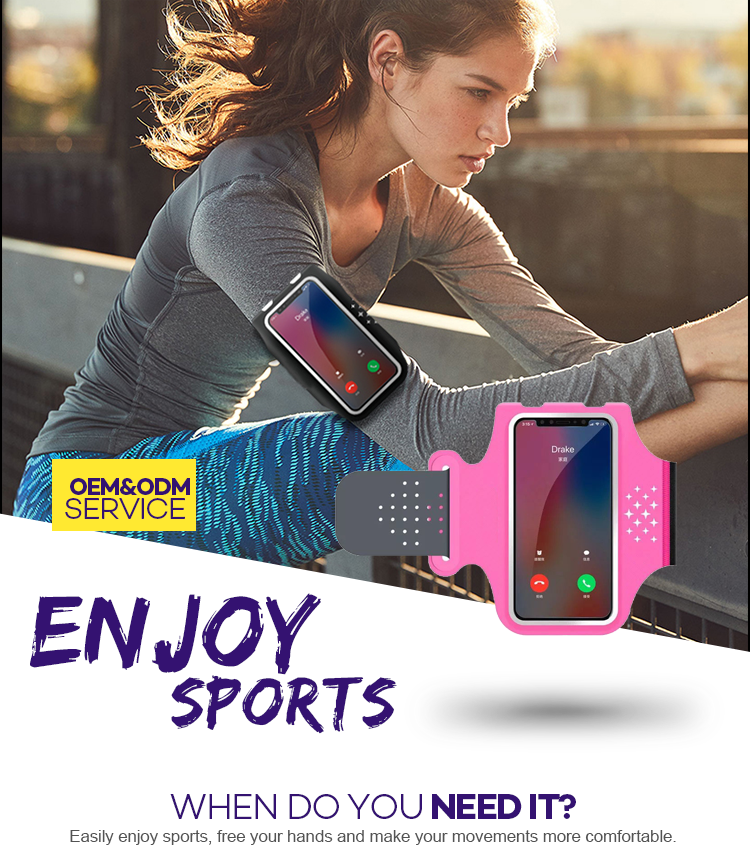 PROMISINGSPORT Colorful Adjustable Comfortable And Soft Touch Screen Dry Pouch Running Arm band