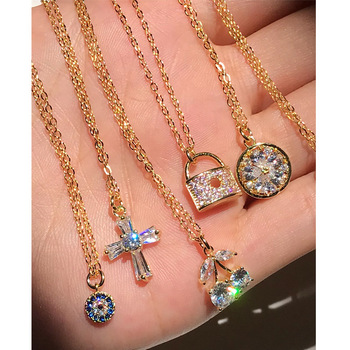 2020 Hotsale Design S925 Sterling Silver Cross Pendant Necklace 18k Gold Plated Evil Eyes Lock Pendant Necklace For Women