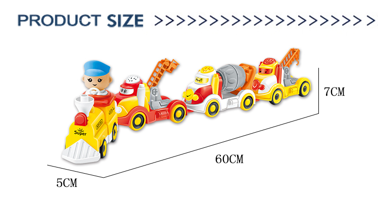 Baby engineering truck spliced kids plastic electric cartoon train toys model