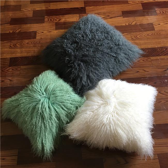 Mongolian designer long hair fur wholesale decorative pillow covers