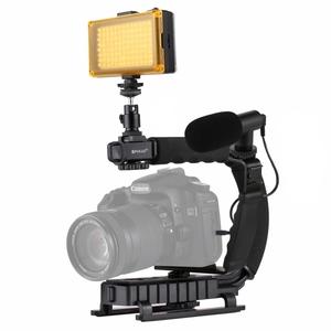 PULUZ U/C Shape Portable Handheld DV Bracket Stabilizer + LED Studio Light + Video Shotgun Microphone Kit