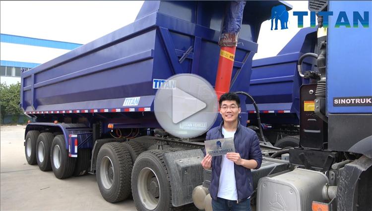TITAN u shape half pipe dump semi trailer rear end u shape tippers hydraulic semi tipper for sale