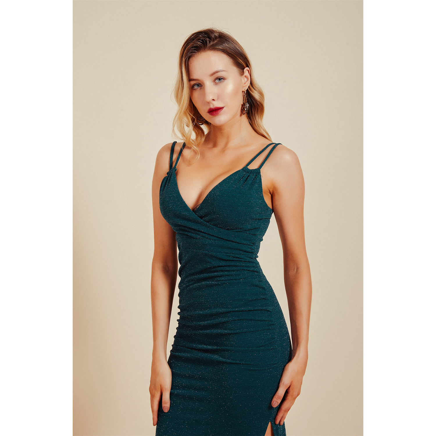 2020 emerald green double straps sexy ladies night out wear party girl high street modern birthday evening outfit club dresses