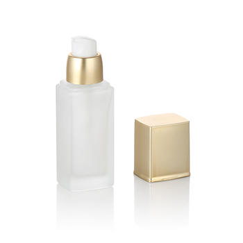 eco friendly frosted  glass bottle 30ml square shaped glass toner bottle with pump and cap