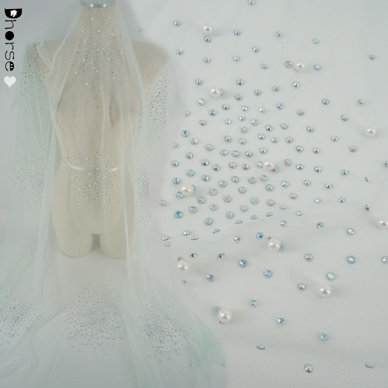 China factory direct bling bling mesh lace fabric with rhinestone and pearls
