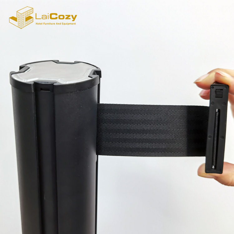 Black aluminium crowd control retractable black colored Belt Barrier