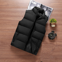 Hot sell wholesale custom LOGO zipper winter jacket black quilted down puffer vest men