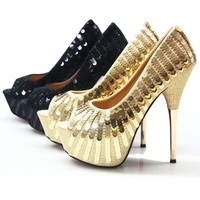 Gold Sequin Open Toe Women High Heel