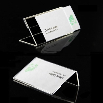 High Quality L Shape Clear Acrylic Name Card Holder/Acrylic Table Sign Price Tag