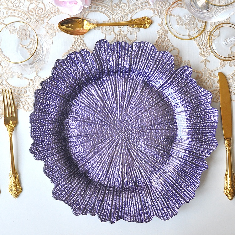 Varicoloured reef glass wedding table decorative13inch charger plate