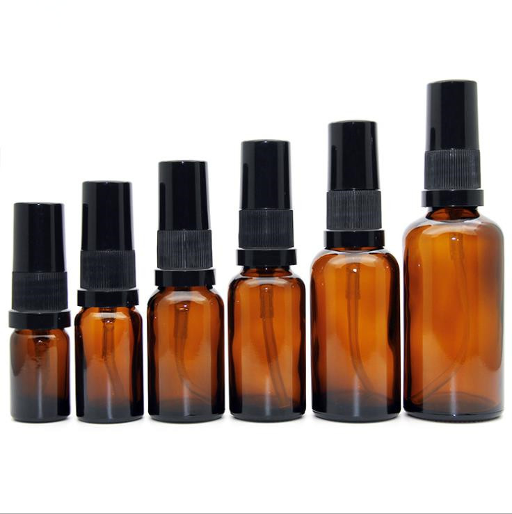 5ml 10ml 15ml 20ml 30ml 50ml 100ml Bernstein Kosmetische Ätherisches Öl Lotion Glas pumpe Spray Flaschen